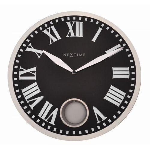 Zegar ścienny z wahadłem Romana Nextime 43 cm, czarny (8161) (8717713010135)