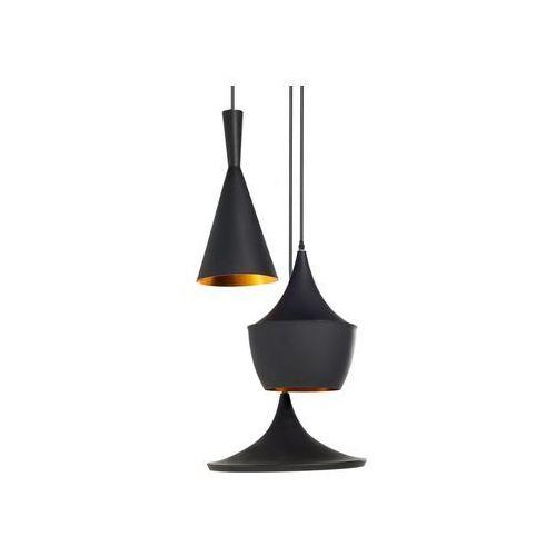 Beliani Lampa wisząca 3 klosze czarno-złota carson