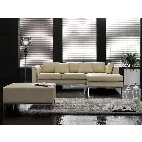 Beliani Nowoczesna sofa z pufą ze skóry naturalnej kolor beżowy l - kanapa oslo (7081454446272)