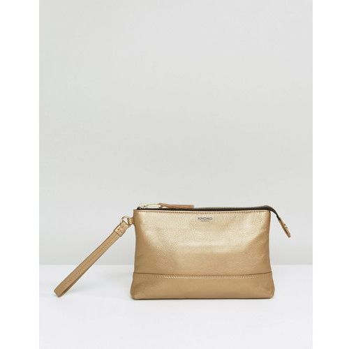 Knomo Leather Mini Clutch Bag with Integrated Phone Charger and USB Cable - Gold