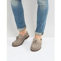 River Island Woven Loafers With Tassels In Grey - Grey
