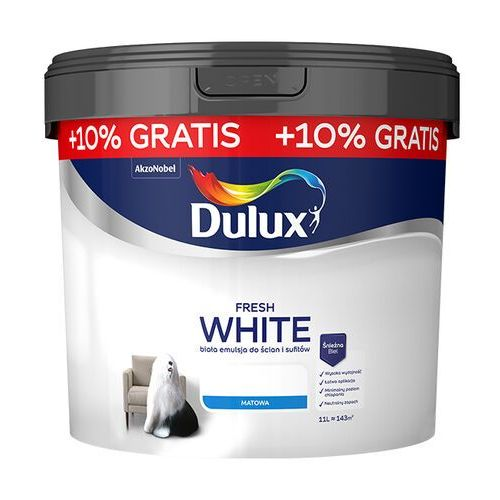 Farba Dulux Fresh White 10 l +10% gratis, 5395559