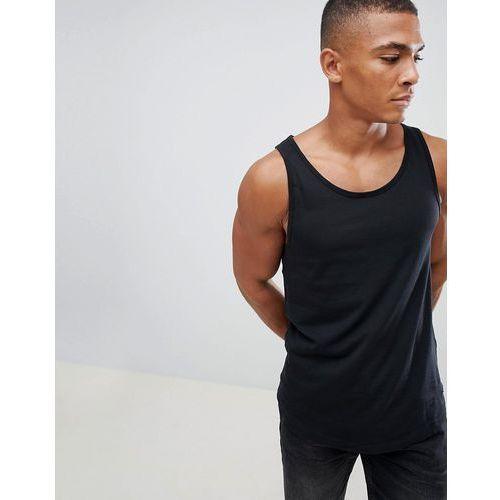 longline vest with raw curved hem in black - black, Esprit