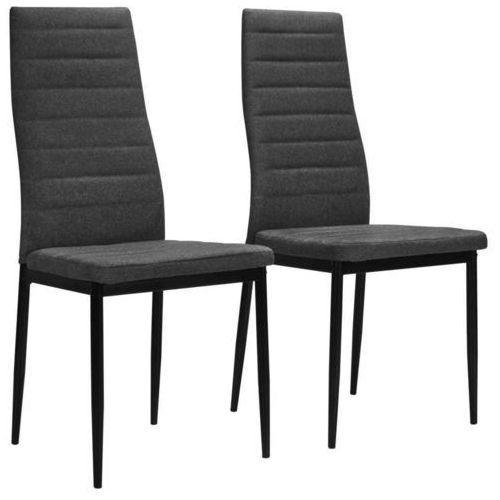 Krzesła do jadalni obite tkaniną, 2 szt., ciemnoszare