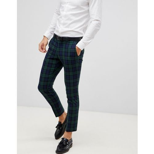 blackwatch green check suit trouser in skinny fit - green marki Selected homme