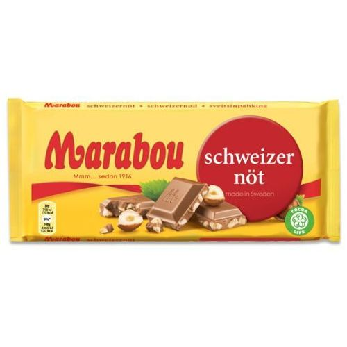Marabou - schweizernot - czekolada mleczna z kawałkami orzecha laskowego - 200g - ze szwecji