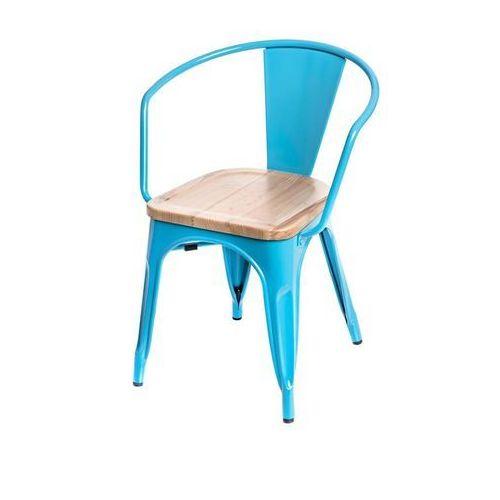 Krzesło Paris Arms Wood sosna naturalna - niebieski (5902385713283)