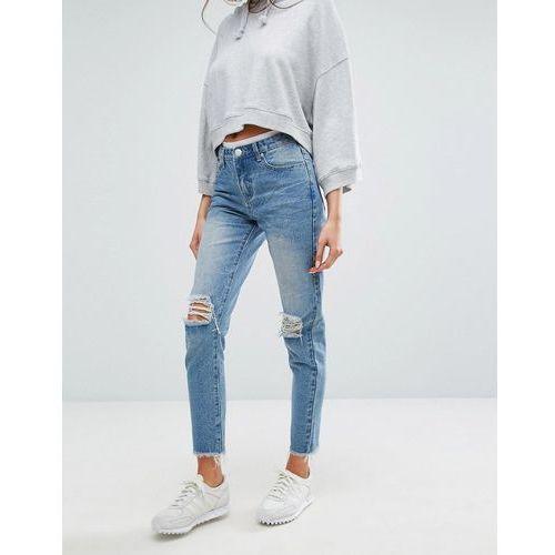 high waisted mom jeans - blue marki Boohoo