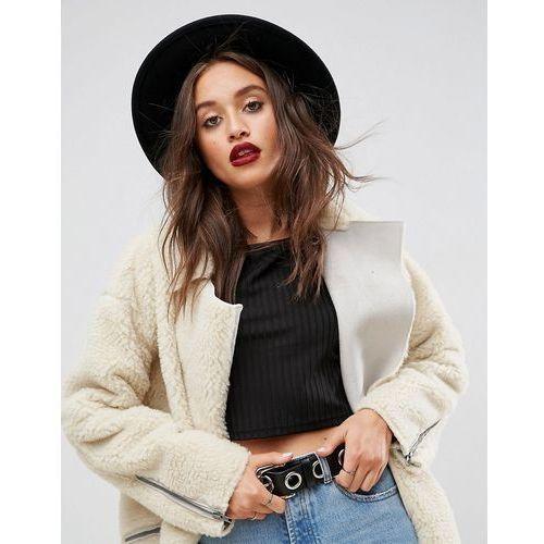 ASOS DESIGN felt panama hat with plait braid trim with size adjuster - Black, kolor czarny