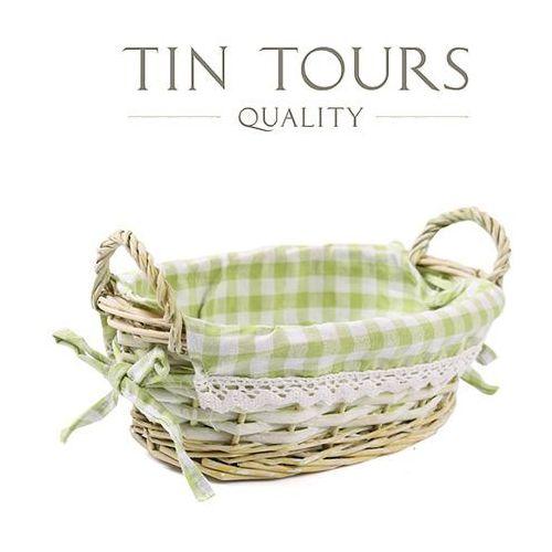 Mały zielony wiklinowy koszyk z uchwytami 24x16x8,5/11,5 cm marki Tin tours sp.z o.o.