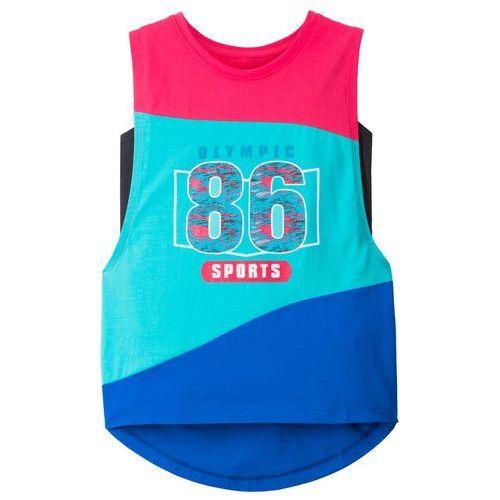 Top sportowy (2 części) bonprix różowo-niebieski