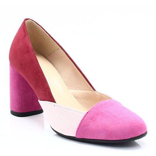 ds-123 różowe - kolorowe czółenka, skóra - różowy, Damiss