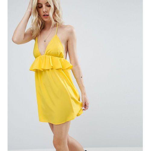 beach halter sundress with frill detail - yellow marki Asos petite