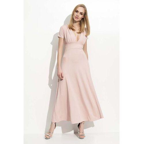 Makadamia Różowa długa sukienka z głębokim dekoltem