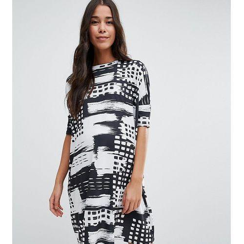 t-shirt dress in abstract mono stripe - multi marki Asos maternity