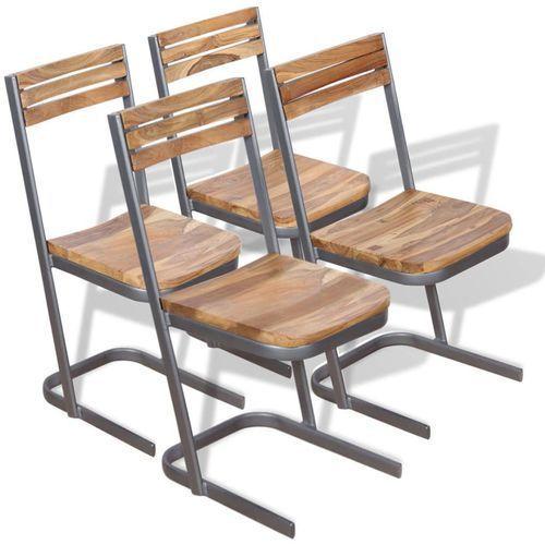 Krzesło do jadalni 4 szt., drewno tekowe (2x243458)