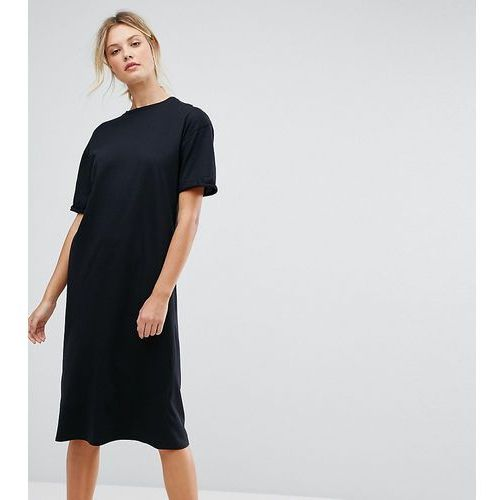 Asos tall ultimate midi t-shirt dress with rolled sleeves - black