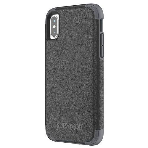 Griffin survivor prime leather etui pancerne iphone x (czarny)