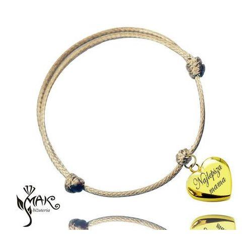BR600 bransoletka na sznureczku grawer serce piękna złota
