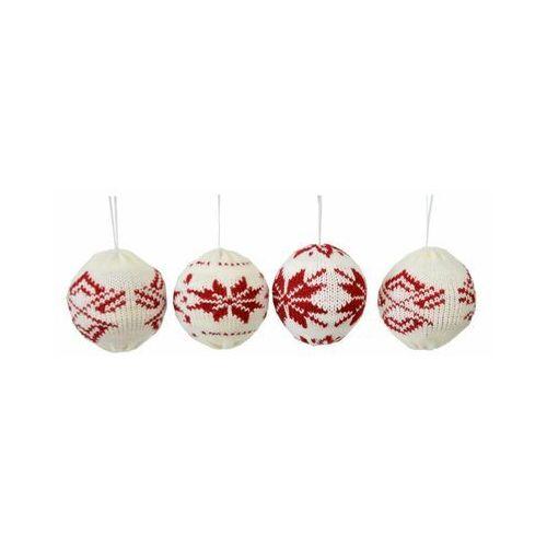 Bombka w sweterku 8 cm 4 szt. biało czerwona (5903039413238)
