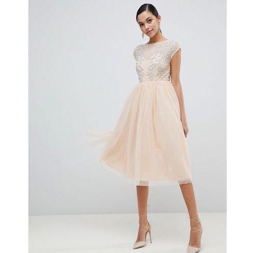 ASOS DESIGN embellished open back tulle midi dress - Beige