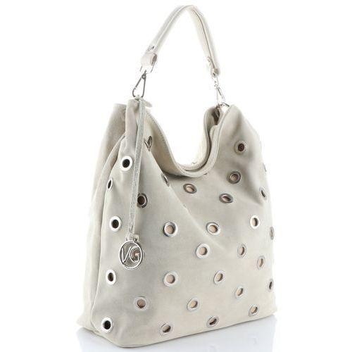 Vittoria gotti oryginalna włoska torebka skórzana typu shopperbag xl wykonana z wysokiej jakości zamszu naturalnego beżowa (kolory)