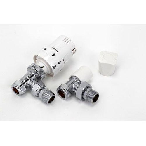 Kątowy zawór termostatyczny z zaworem odcinającym - biały 1/2'' marki Thomson heating