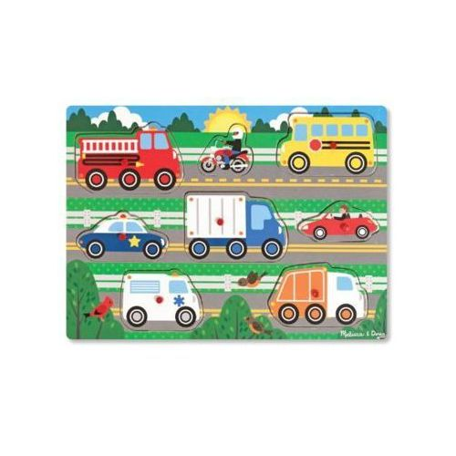 Puzzle drewniane MELISSA & DOUG Peg pojazdy 19051 (0000772190510)