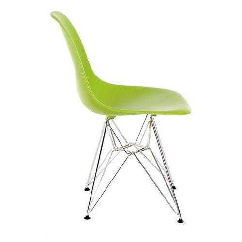 Krzesło P016 PP zielone, chromowane nogi, kolor zielony