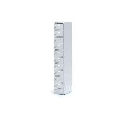 Metalowa szafka ubraniowa 10-drzwiowa na cokole, drzwi szare, zamek cylindryczny