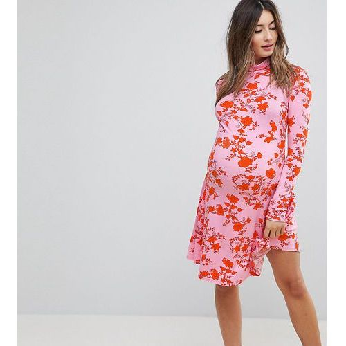 Asos maternity polo neck mini dress with godets in floral print - multi