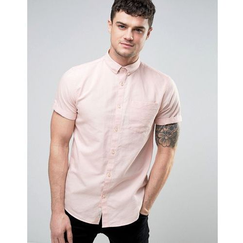 regular fit oxford shirt with short sleeves in pink - pink, River island