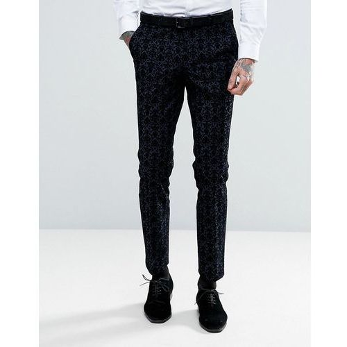 Noose & Monkey Super Skinny Suit Trousers With Floral Flocking - Navy