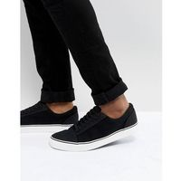 canvas lace up trainers in black - black, New look