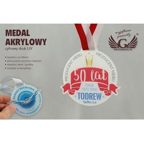 Medal z akrylu szronionego - druk UV - MAK001 - średnica 40 do 80mm