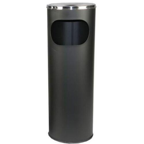 Kosz na śmieci z popielniczką / koszopopielnica 12l czarna popielnica stojąca zewnętrzna, popielnice marki Clean
