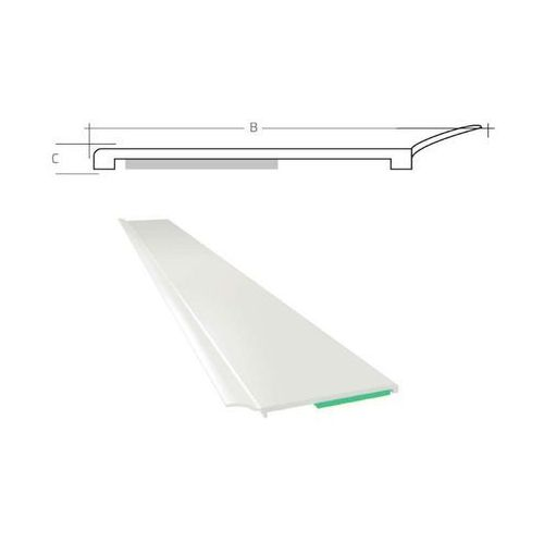 Listwa maskująca płaska samoprzylepna PCV B=60 mm gr. C=1 mm biała z uszczelką L=50 mb, PP10 022
