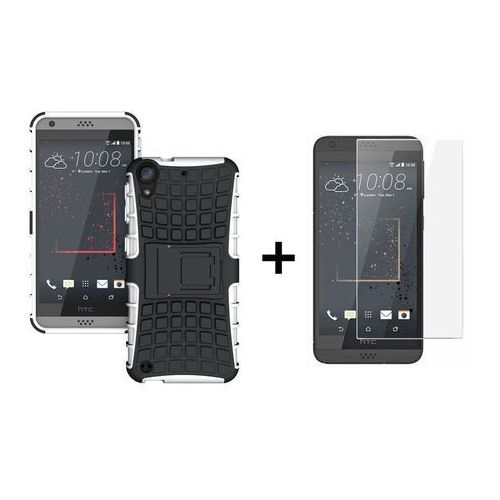 Zestaw | Pancerna obudowa etui Perfect Armor Biały + Szkło ochronne Perfect Glass dla HTC Desire 530