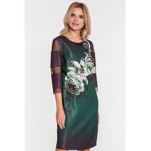 Margo collection Zielona sukienka w motywem kwiatowym -