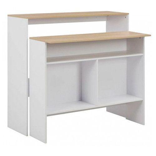 Stolik barowy Alexander 4X - biały + naturalne drewno