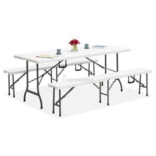Zestaw stół cateringowy składany 180 cm + 2 ławki - Transport GRATIS!