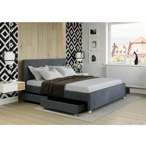Big meble Łóżko 180x200 tapicerowane monza + 4 szuflady + materac welur ciemno szare