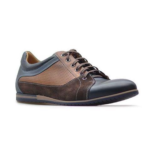 Półbuty Duo Men 001780 Granatowe/Brązowe, kolor brązowy