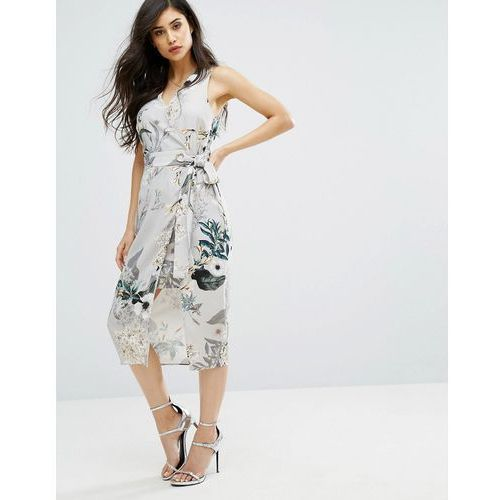 River island sleeveless midi dress in floral print - multi