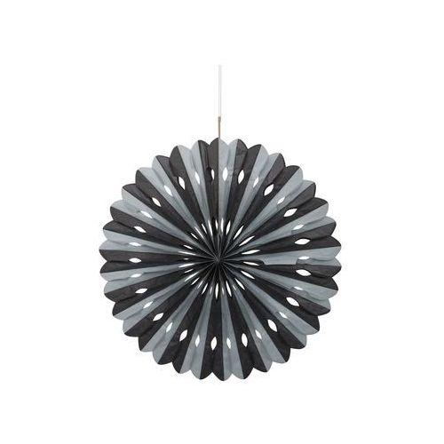 Dekoracja wisząca rozetka srebrno-czarna - 40 cm - 1 szt.