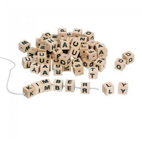 Klocki z literkami do nawlekania, drewniany zestaw, Toys Pure HD 270