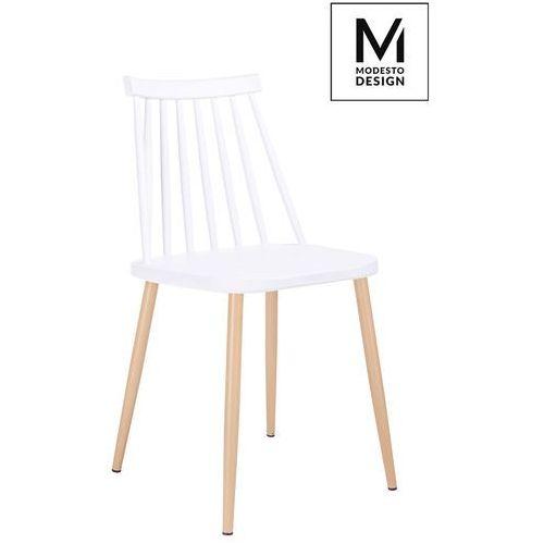 Modesto design Modesto krzesło ribs białe - polipropylen, imitacja drewna (5900168801783)
