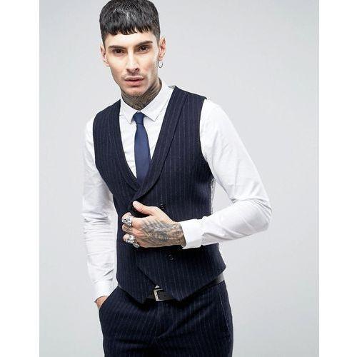 skinny db waistcoat in brushed pinstripe - navy wyprodukowany przez Noose & monkey