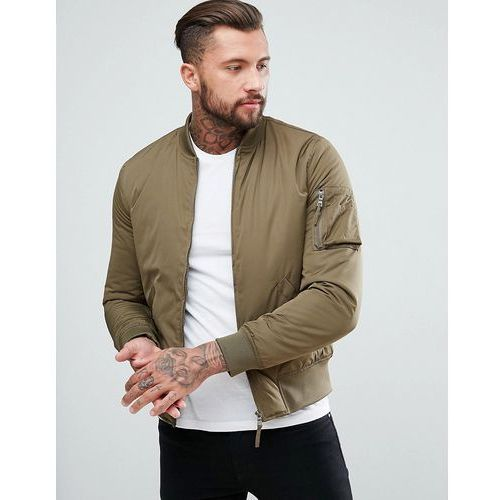New look bomber jacket with ma1 pocket in khaki - green