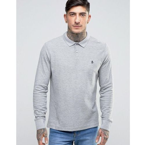 winston pique polo long sleeve slim fit in grey marl - grey marki Original penguin